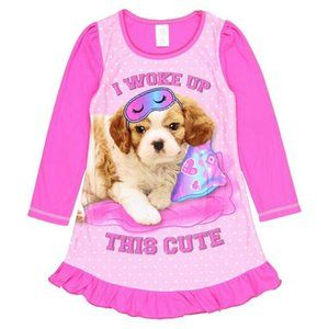 I Woke Up This Cute Puppy Fleece Nightgown L 10/12